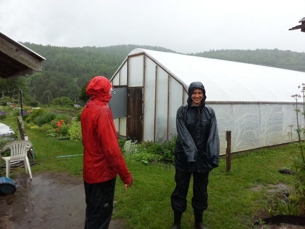 Karme Choling Garden: A morning's meditation is followed by work in the garden for Ciel Haviland and Marit Wilson.