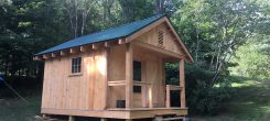 Karmê Chöling's new campground cabin was built with volunteers and a generous donation. The Facilities Department is studying a potential program, where people can come to Karmê Chöling and pick up carpentry skills while assisting in building the next campground cabin.