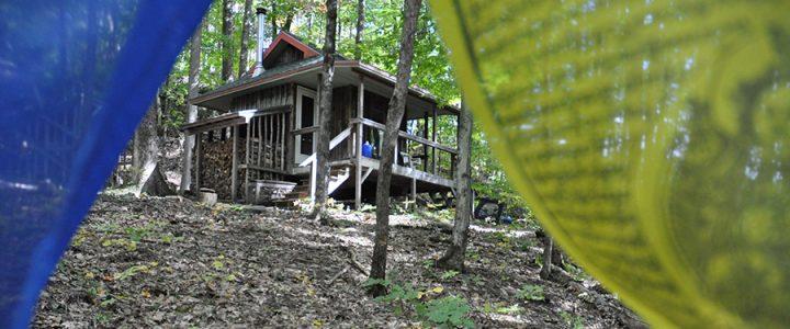 "Karme Choling solitary retreat cabin, ""Great Eastern Sun."""