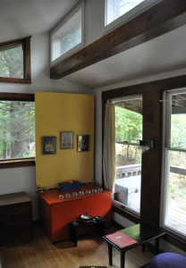 Interior of Nirmanakya retreat cabin at Karme Choling.